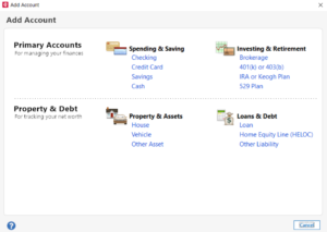 add a bank account in quicken