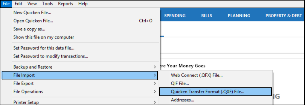 Transfer Quicken Data From One File to Another Using  QXF