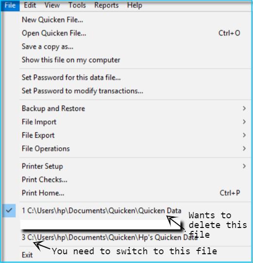 Remove Quicken Data File From File Menu